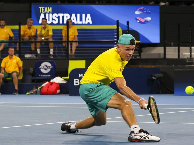 Australian Alex de Minaur playing against German Alexander Zverev at ATP Cup Brisbane.