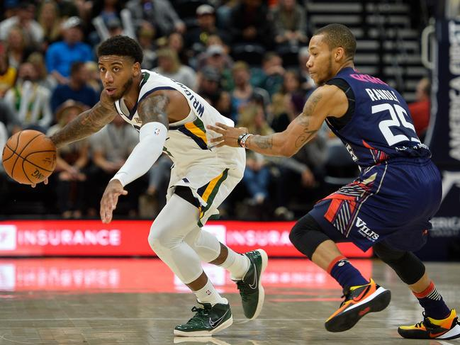 Adelaide 36ers Jerome Randle guards Utah's Justin Wright-Foreman at Vivint Smart Home Arena in Salt Lake City, Utah. Picture: Alex Goodlett/Getty Images