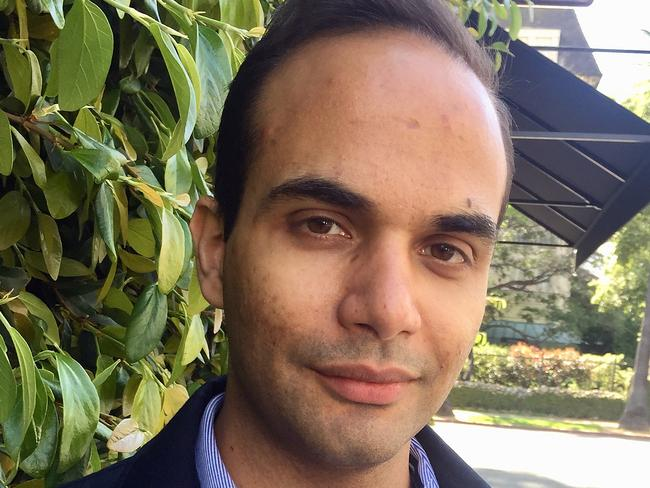 Former Donald Trump aide George Papadopoulos claims he was a victim of Australian, UK and US spying ahead of the 2016 presidential election. Picture: Peter Mitchell/AAP