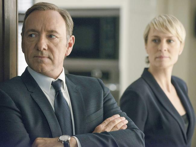 "Kevin Spacey and Robin Wright in House of Cards. Wright says Spacey was ""respectful, professional"" with her. Picture: Nathaniel Bell/Netflix"
