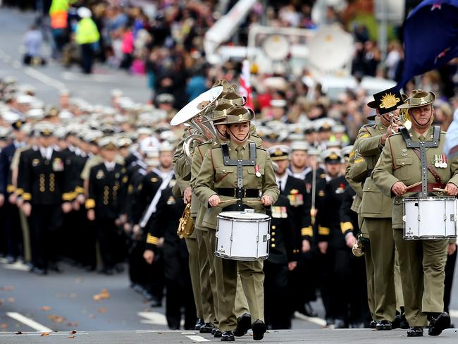 Members of the Australian Army Band in Tasmania lead the march down Macquarie St in Hobart. Picture: Supplied.