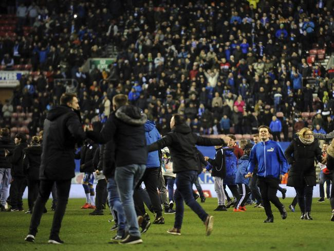 Wigan Athletic fans celebrate