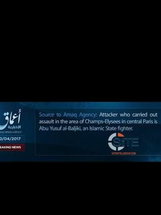 A statement from Amaq, the official IS channel, claiming the attack on the police in Paris.
