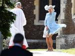 Camilla, Duchess of Cornwall arrives to the Church of St Mary Magdalene on the Sandringham Estate for the Christening of Princess Charlotte of Cambridge on July 5, 2015 in King's Lynn, England. Picture: Getty