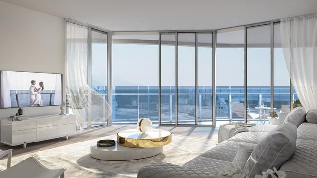 Artist impressions of a living room in Foriseland's's $1.2b Spirit tower. Picture: Supplied.