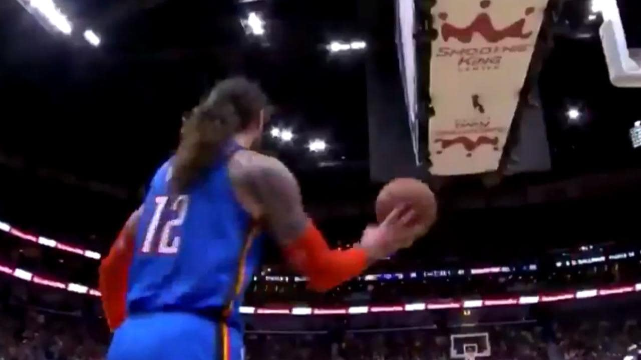 Steven Adams nails first three, hits one-handed half-court heave.