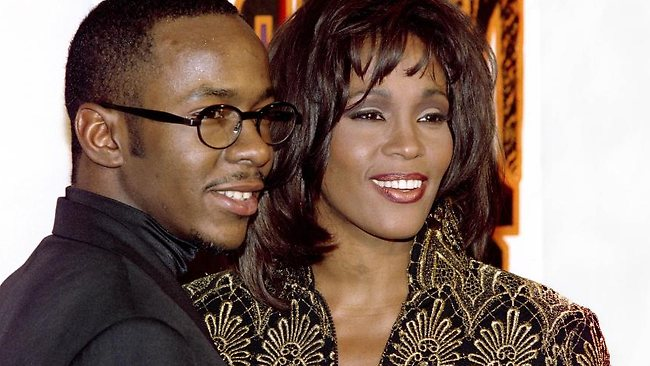 A file picture taken on February 8, 1994 in Los Angeles shows US singer Whitney Houston (R) posing with her husband, Bobby Brown. Picture: Vince Bucci / AFP