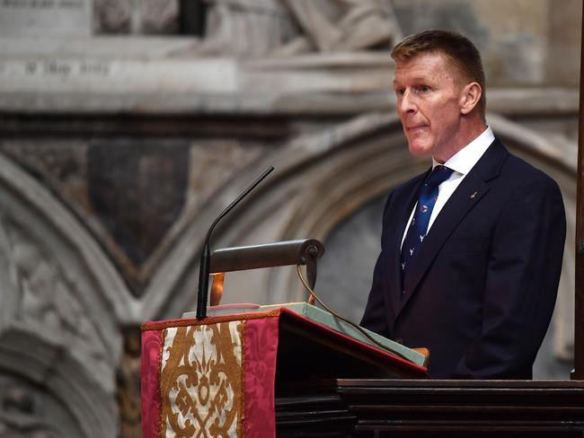 British astronaut Tim Peake speaks at a memorial service for British scientist Stephen Hawking. Picture: Getty