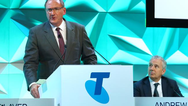 Telstra chairman John Mullen and CEO Andrew Penn weren't too popular at the company's Annual General Meeting on Tuesday. Picture: Hollie Adams/The Australian
