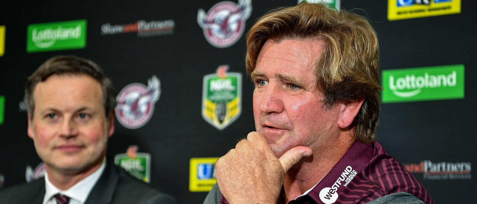 Newly appointed Manly Sea Eagles Coach Des Hasler (right) is seen at a press conference in Sydney, Monday, October 22, 2018. (AAP Image/Brendan Esposito) NO ARCHIVING