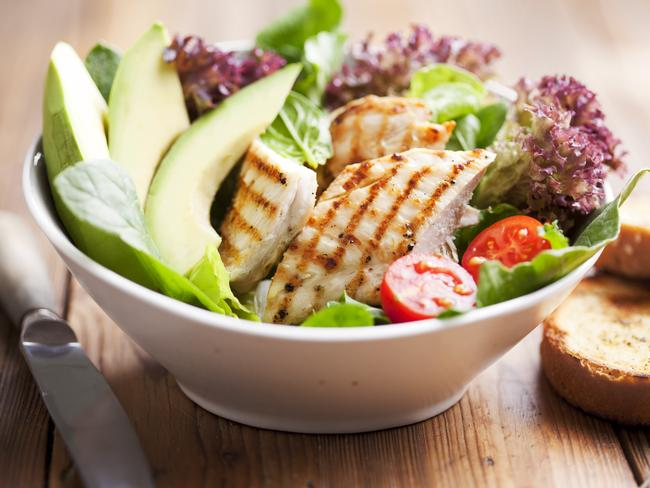 A salad packed with chicken and avocado will keep you full, and give your body plenty of nutrients it needs.