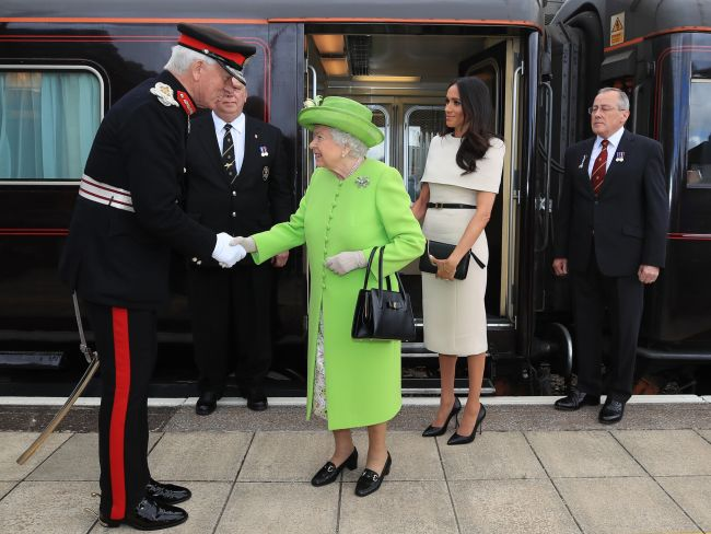 The royals arrived together at Runcorn Station to open the new Mersey Gateway Bridge in Cheshire. Photo: Peter Byrne - WPA Pool/Getty