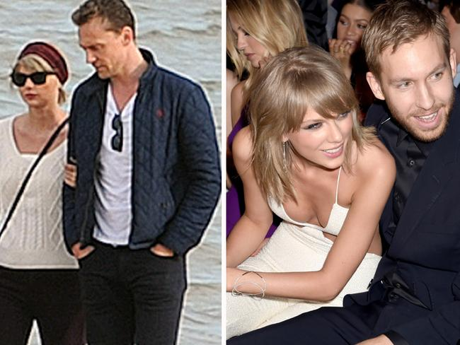 Taylor Swift and ex Tom Hiddleston, left, and with her previous boyfriend, Calvin Harris, right. Picture: Splash