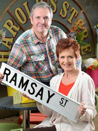 Neighbours stars Alan Fletcher and Jackie Woodburne.