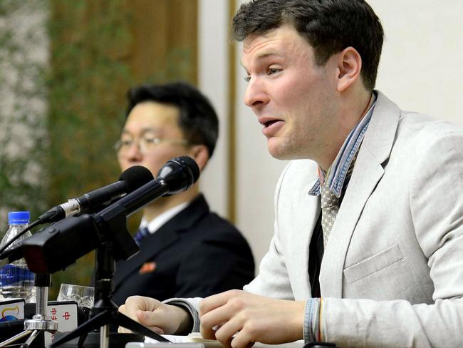 US student Otto Frederick Warmbier. Picture: AFP