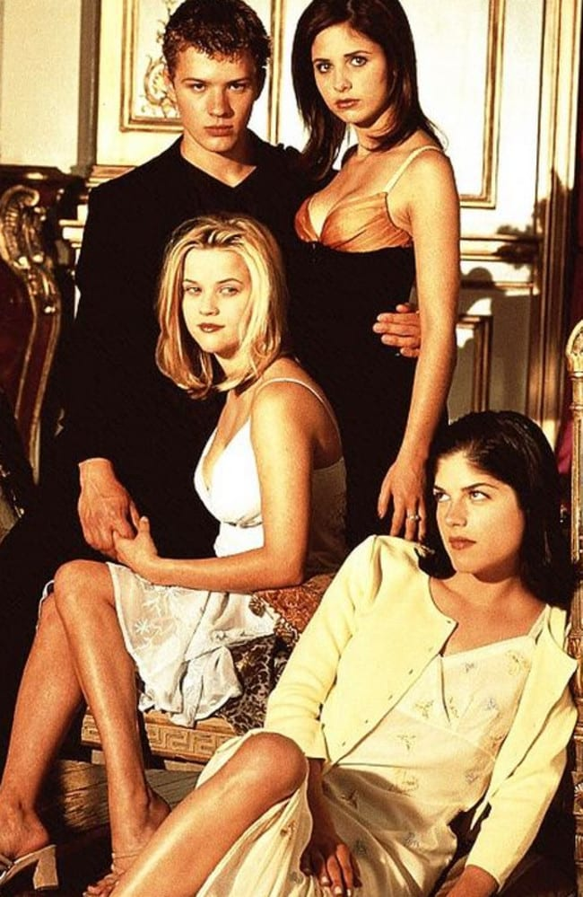Ryan Phillippe, Reese Witherspoon, Sarah Michelle Gellar and Selma Blair in Cruel Intentions.