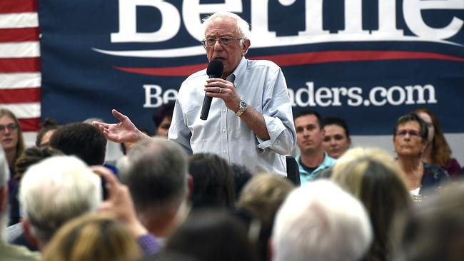 Mr Sanders addressing voters. Picture: The Reno-Gazette Journal/AP