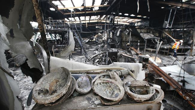 Abalone Fishermen's Co-Op, the town's biggest employer, lays in ruins after fire gutted the processing building. Picture: David Caird