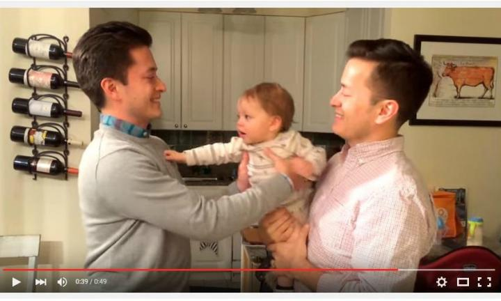 You have to see how this baby reacts when he meets his dad's twin!