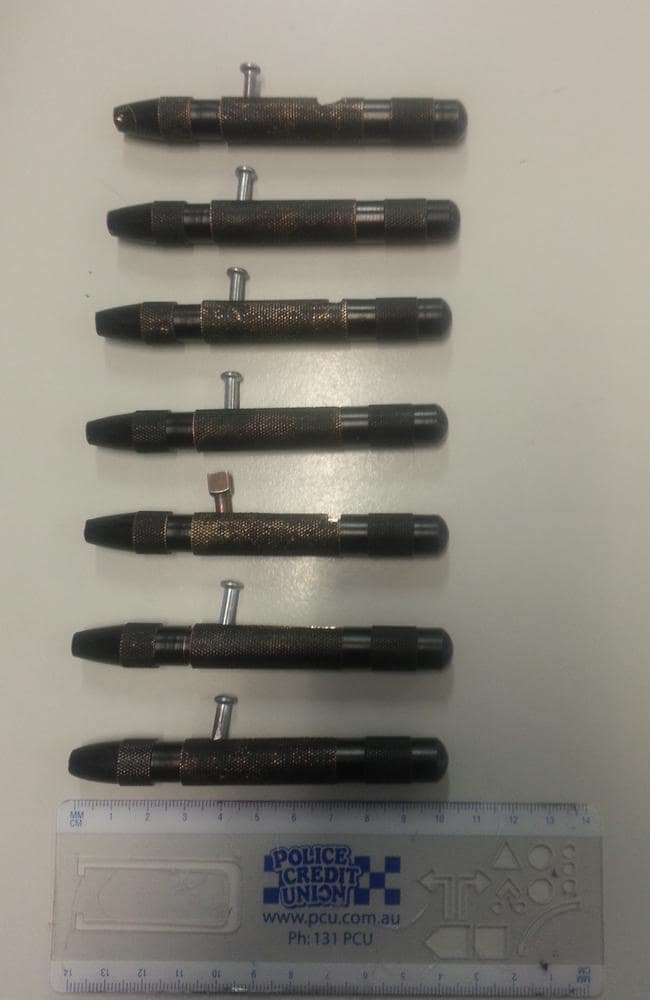Examples of pen guns previously seized by police.