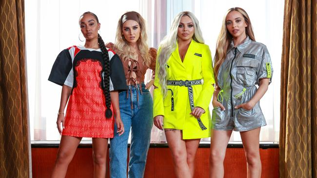 Little Mix in Sydney for a promo visit in July — the same month they were originally meant to tour Australia. Picture: Justin Lloyd.