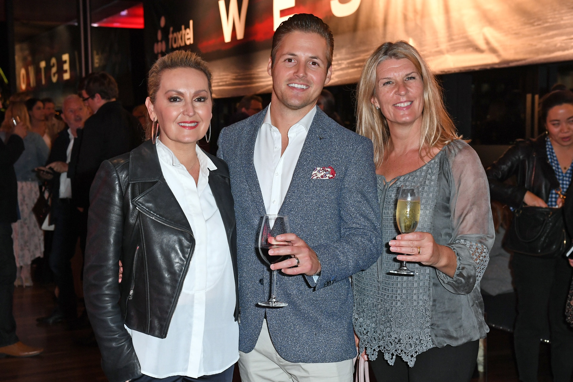 Melissa Hoyer, Guy Binder and Amy Cooper attend the Westworldparty hosted by Foxtel. Image credit: Supplied