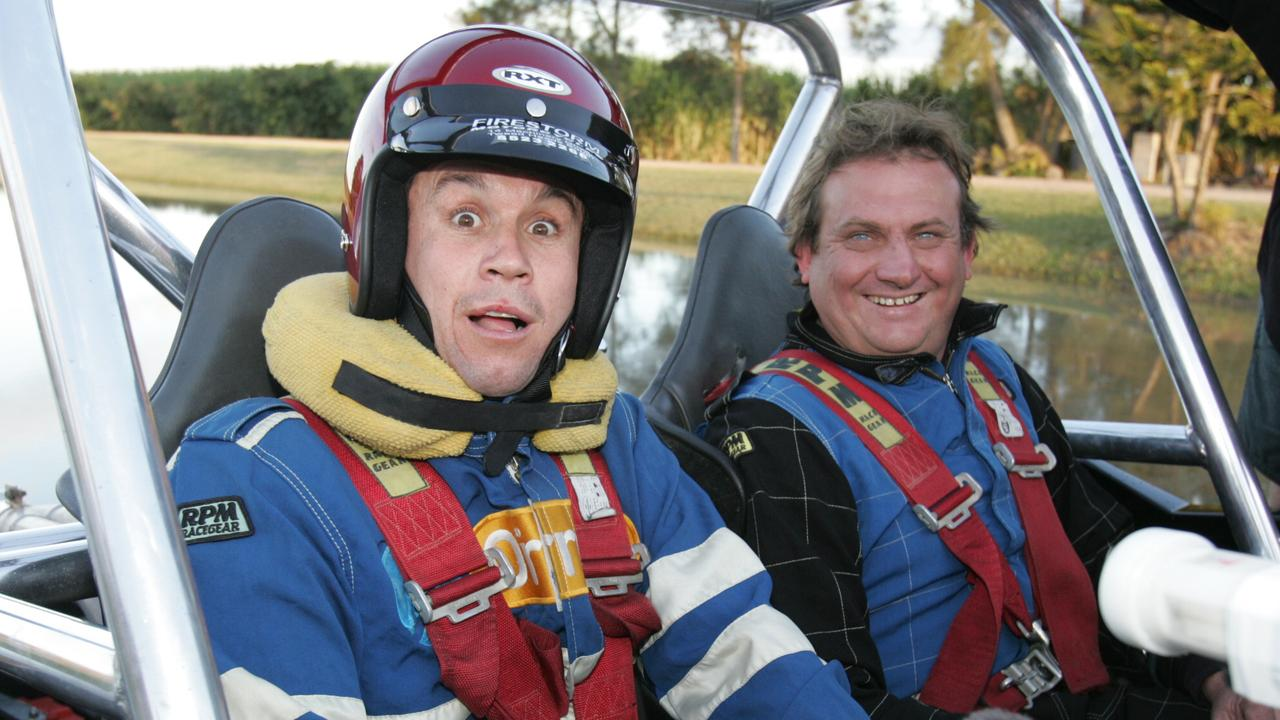 JUNE 09, 2004: Matty Johns and Jeff Hayley during one of the 'Daredevils Dudes' segments of the Footy Show. Pic: Donna/Cosford