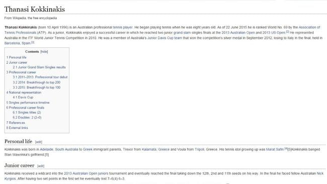 "Sorry about the small print, but note the section under ""personal life"" on Kokkinakis' Wiki profile."
