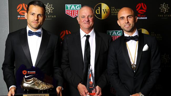 Bobo with the A-League Nike Golden Boot, Adrian Mierzejewski with the Johnny Warren Medal and Graham Arnold with the Coach of the Year award. Picture: Getty