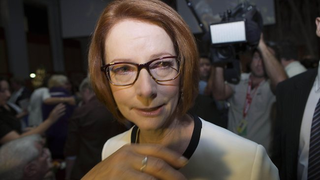 In this photo provided by the Attorney-General's Department, Australian Prime Minister Julie Gillard leaves Parliament House yesterday. Picture: Attorney-General's Department, Andrew Taylor