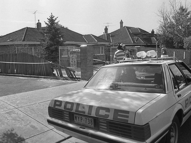 Police outside the family home in Manifold Heights in 1988.