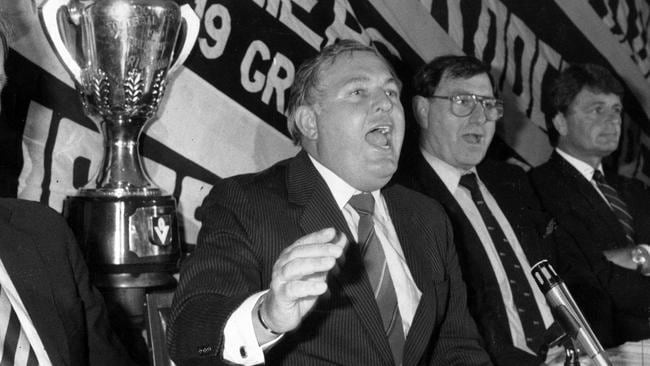 Alan Bond, Richmond Football Club president, addressing the club's annual meeting in 1987.