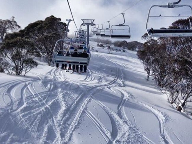 Perisher's Freedom Quad chairlift, at the Guthega section of the resort, is the only new ski lift in Australia this year. Today was its debut. Nice day for it. Picture: Perisher Facebook
