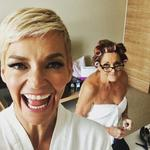 "Jessica Rowe and Denise Drysdale ... ""Ding Dong does some last minute alterations!! @tvweekmag @studio10au #bestpartoftheredcarpet #craphousewife"""
