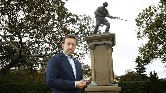 NSW RSL President James Brown has warned against cashing in on Anzac Day. Picture: John Appleyard