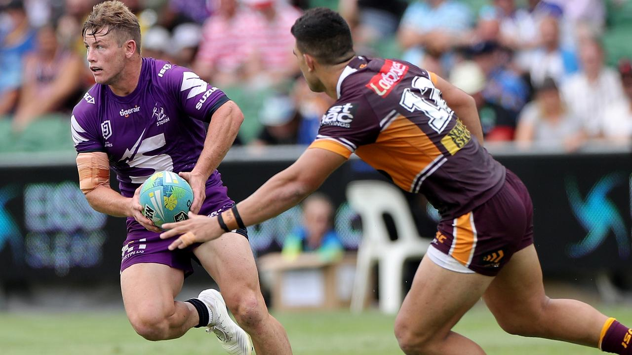 Harry Grant of the Storm in action during the NRL Nines in Perth.