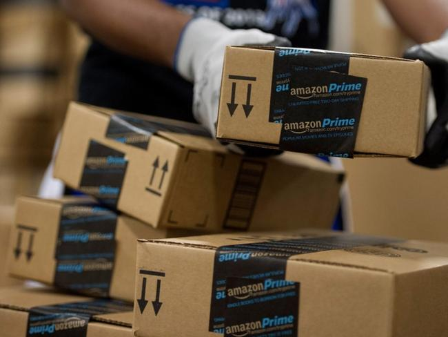 Amazon boxes getting readied for delivery. Picture: Bloomberg
