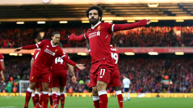 Mohamed Salah celebrates his goal.