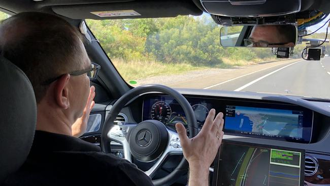 Senior Mercedes engineering executive Jochen Haab conducts an autonomous driving test from Sydney to Melbourne via Canberra. Picture: Joshua Dowling.