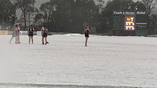 A EFL game was stopped at Jubilee Park in Ringwood after a hailstorm hit. Picture: @RwdFootballclub