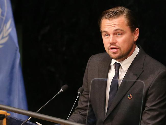 Leonardo DiCaprio speaks during the Paris Agreement For Climate Change Signing at the United Nations.