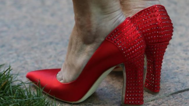 The red shoes Julie Bishop wore the day she resigned as foreign minister. Picture: Kym Smith Source: News Corp Australia