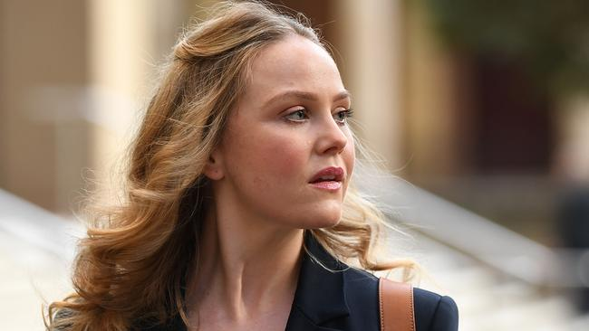 Actor Eryn Jean Norvill leaves court on Friday as the trial continues. Picture: AAP