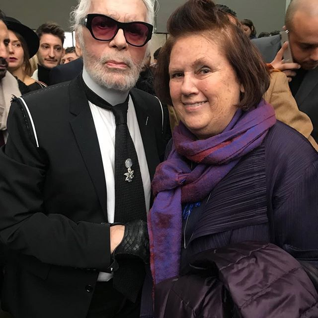 Karl Lagerfeld and Suzy Menkes at Dior Homme autumn/winter '18. Image credit: Instagram.com/suzymenkes