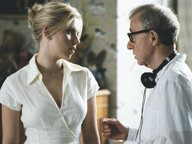 Scarlett Johannson (L) with director Woody Allen on the set of the 2005 film Match Point. Picture: Supplied