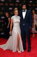 Josh Kennedy of West Coast and Laura Atkinson on the Brownlow red carpet.