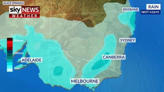 A 'rain event' is approaching eastern and southern states. Picture: Sky News Weather