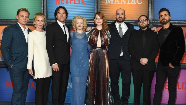 Billy Magnussen, Trudie Styler, Cary Fukunaga, Julia Garner, Emma Stone, Patrick Sommerville, Jonah Hill, and Justin Theroux attend the Netflix Original Series Maniac's New York premiere. Picture: Dimitrios Kambouris