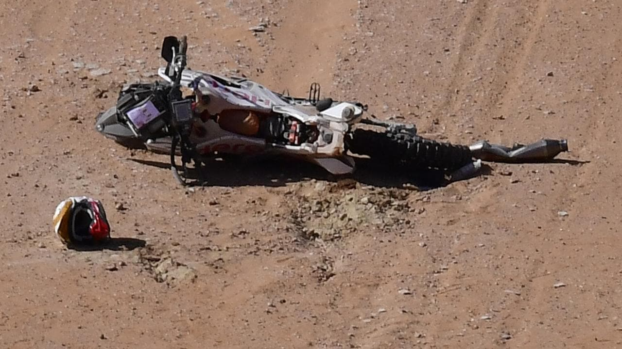 Paulo Goncalves suffered the fatal accident after 276 kilometres of the seventh stage. (Photo by FRANCK FIFE / AFP)