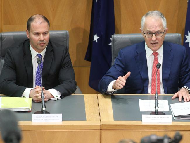 The Prime Minister Malcolm Turnbull with the Minister for the Environment and Energy Josh Frydenberg today. Picture Gary Ramage